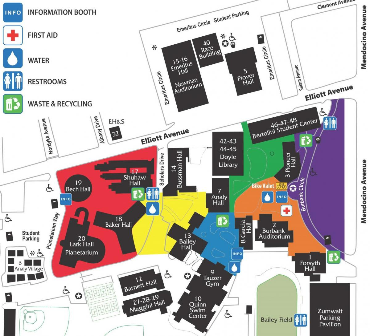 SRJC Campus Map with Event Areas